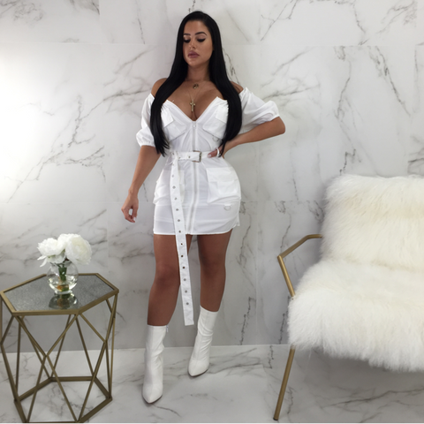 Virgin Pearls Collection Dress Jordan Off The Shoulder Belted Mini S / WHITE Diva Boutique MayvennHair Virgin Pearls Beauty fashion Hair