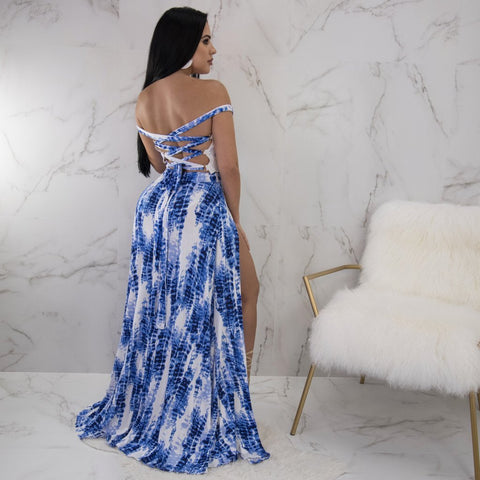 Virgin Pearls Collection Dress Katia Tie Dye Double Slit Maxi Diva Boutique MayvennHair Virgin Pearls Beauty fashion Hair