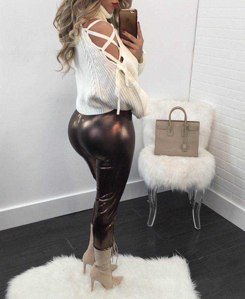 Virgin Pearls Collection Tops Cecilia Lace Up Turtleneck Sweater / Top