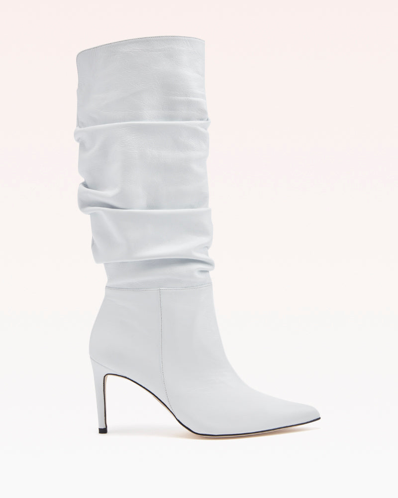 Lucy 85 Scrunchy Boot in White Leather