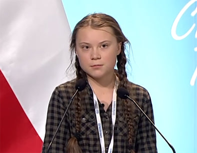 Earthshaking speeches  by Greta Thunberg on Youtube