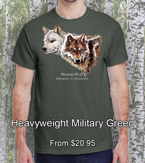 military green heavyweight cotton mission wolf t-shirt