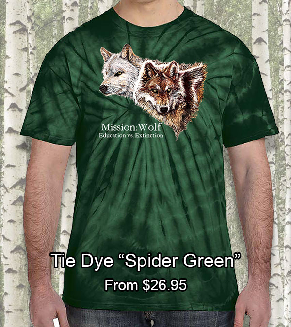 green tie dye mission wolf t-shirt