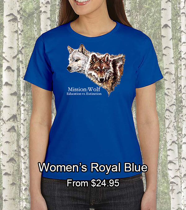 royal blue women mission wolf t-shirt