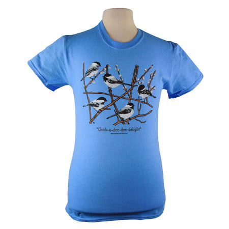 Chickadees T Shirt Birds Birdwatching in Unisex Carolina Blue Heavyweight Cotton