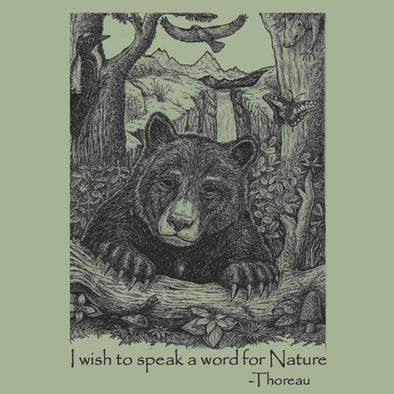 Bear Wonder Black Bear T-Shirt with Thoreau Quote