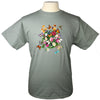 Butterfly Garden Floral Light Green T Shirt