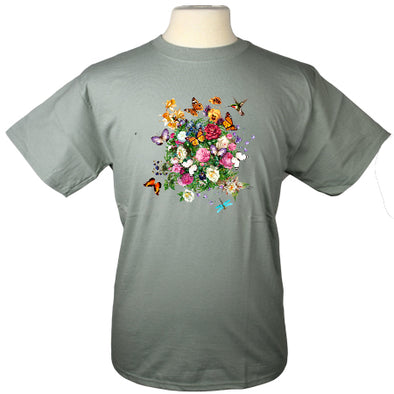 Butterfly Garden Hummingbird Monarch Dragonfly Floral Heavyweight T Shirt in Light Green