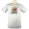 Butterfly Garden Hummingbird Monarch Dragonfly Floral T Shirt Organic in Silver Grey