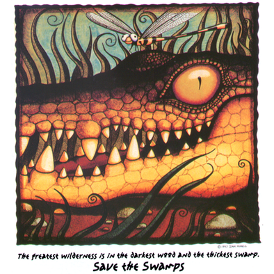 Detail of the Alligator wildlife t-shirt design, showing an American alligator smiling with a dragonfly on its head