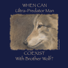 "Detail of Brother Wolf t-shirt design asking ""When can ultra-predator coexist with brother wolf?"""