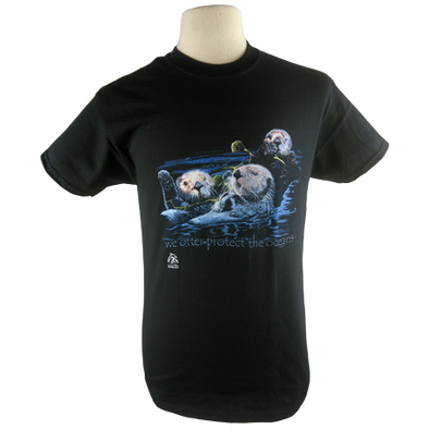 Sea Otters design on Men's Slim Fit Organic t-shirt in Black