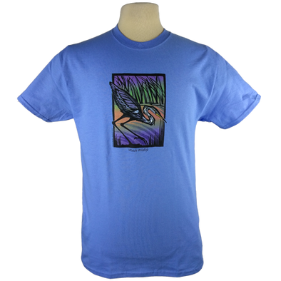 Great Blue Heron design on Men's Heavyweight t-shirt in Carolina Blue
