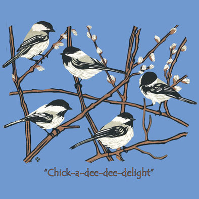 "Detail of Chickadees wildlife t-shirt design, showing a small flock of black-capped chickadees resting on branches with winter buds accompanied by the text ""Chick-a-dee-dee-delight"""