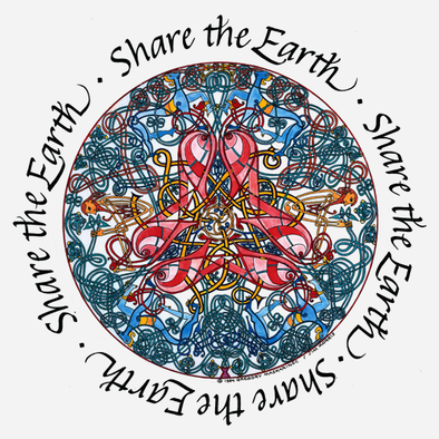 "Detail of Celtic Circle design, the words ""share the earth"" encircle a colorful Celtic knot design on this t-shirt"