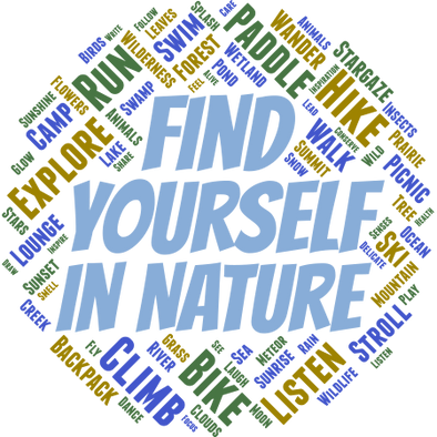 Detail of Find Yourself t-shirt design, featuring a word cloud of outdoorsy activities