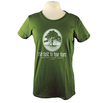 "Detail of Stay Close to Your Roots t-shirt design, featuring a cameo with a large tree and a cross section of its roots with the text ""stay close to your roots"" and ""protect your earth"" below"