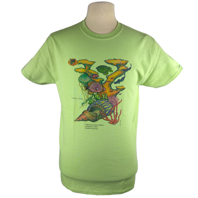 Coral Reef design on Men's Heavyweight t-shirt in Avocado