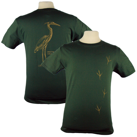 Heron Tracks design on Men's Heavyweight t-shirt in Dark Green