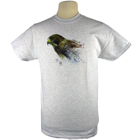Swainson's Hawk design on Men's Heavyweight t-shirt in Ash Grey