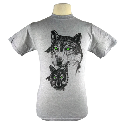 Green Eyed Wolf design on Men's Heavyweight t-shirt in Heather Grey