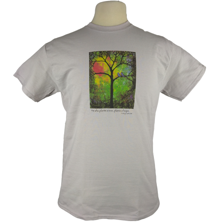 Sunshine design on Men's Heavyweight t-shirt in Ice Grey