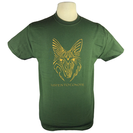 Coyote Spirit design on Men's Heavyweight t-shirt in Dark Green