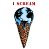 "Detail of I Scream t-shirt design, depicting Earth as a melting scoop of ice cream with the ominous words ""I SCREAM"" in bold, capital text"