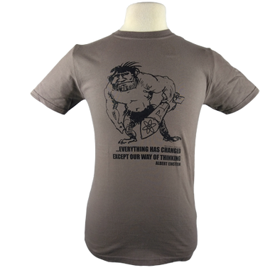 Nuclear Club design on Men's Slim Fit Organic t-shirt in Light Brown