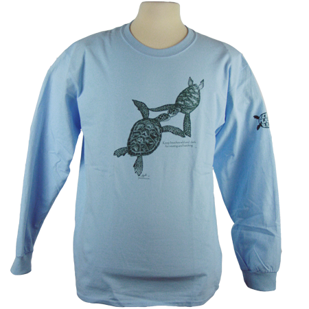 Turtles Embrace design on Men's Longsleeve shirt in Light Blue