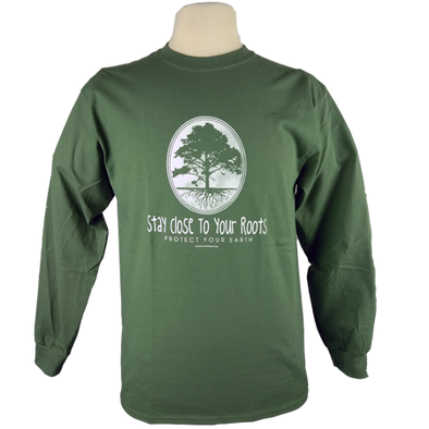 Stay Close to Your Roots design on Men's Longsleeve shirt in Moss