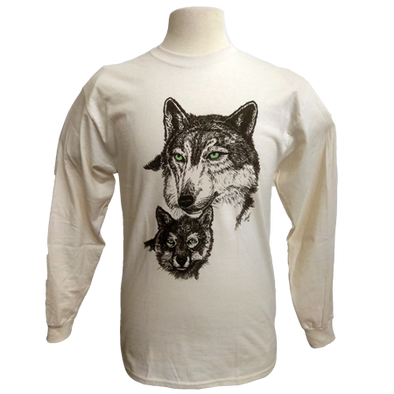 Green Eyed Wolf design on Men's Longsleeve shirt in Natural