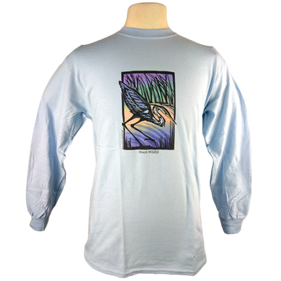 "Detail of Great Blue Heron design, featuring a heron in a colorful marsh at sunset with text encouraging people to ""Watch Wildlife."""