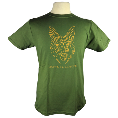 Coyote Spirit design on Men's Slim Fit Organic t-shirt in Dark Green