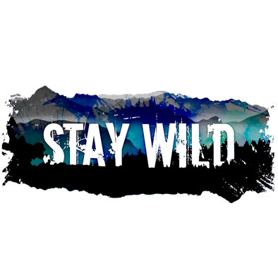 "Detail of Stay Wild shirt design, featuring the words ""Stay Wild"" on a background of forest and mountains splashed with color"