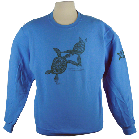 Turtles Embrace design on Sweatshirt in Carolina Blue