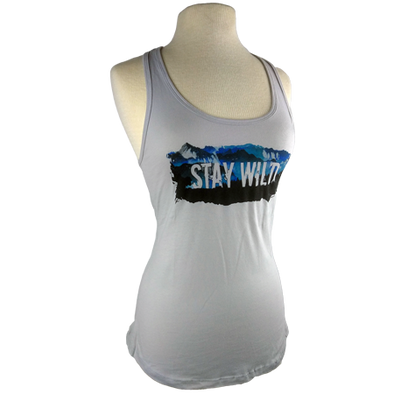 Stay Wild design on Women's Tank Top in Light Grey