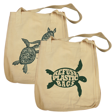 Turtles Embrace design on Tote Bag in Natural