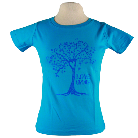 Love Grows design on Women's Soft Relaxed Fit t-shirt in Turqouise
