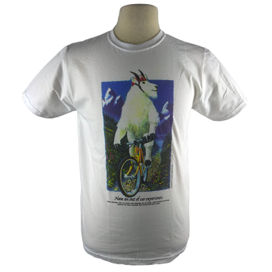 Mountain Goat on a Bicycle White Heavyweight  T-Shirt