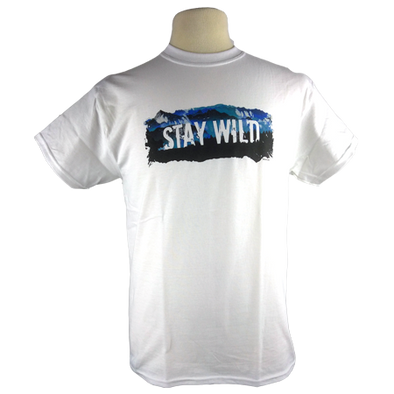 Stay Wild design on Men's Heavyweight t-shirt in White
