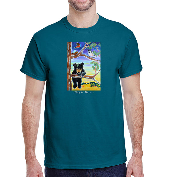 Black Bear Cub Heavyweight T-Shirt on Galapagos Blue