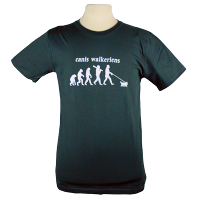 Detail of Dog Walker t-shirt design, showing the evolution of Homo sapiens with a fun twist showing a modern man walking his dog with a new Latin name, Canis walkeriens