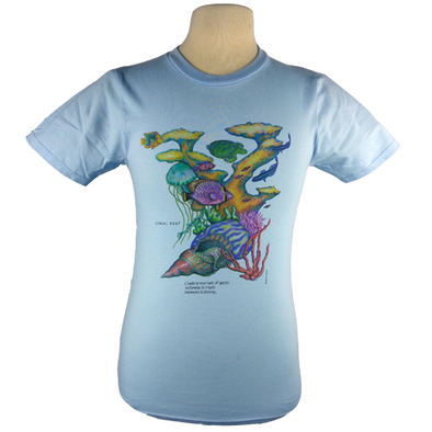 Coral Reef design on Men's Slim Fit Organic t-shirt in Light Blue