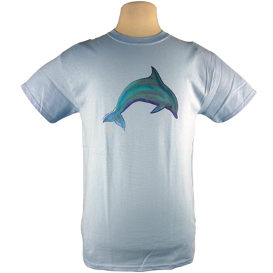 Dolphin design on Men's Heavyweight t-shirt in Light Blue