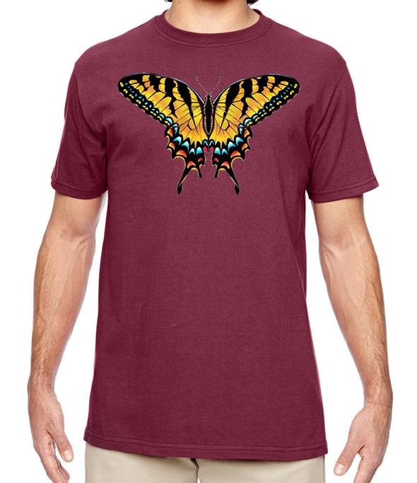 Tiger Swallowtail Butterfly Maroon Organic Nature T Shirt
