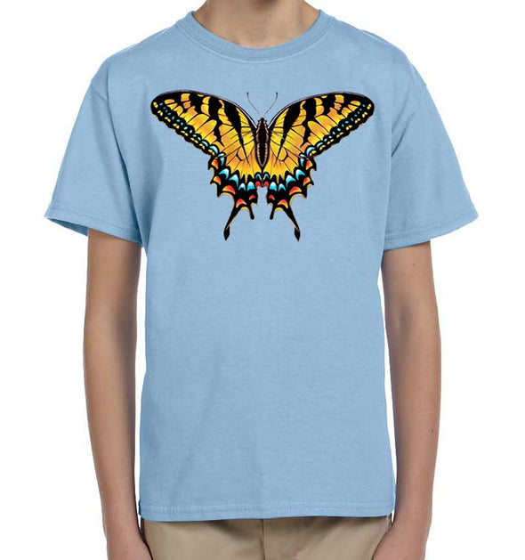 Tiger Swallowtail Butterfly Light Blue Kids Youth Nature T Shirt