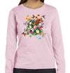 Butterfly Garden Hummingbird Monarch Dragonfly Floral Long sleeve T Shirt in Pink