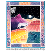 Detail of Canyon Wolf wildlife t-shirt design, showing a grey wolf looking out over a colorful canyon with some birds and the moon in the background and a frame of abstract designs