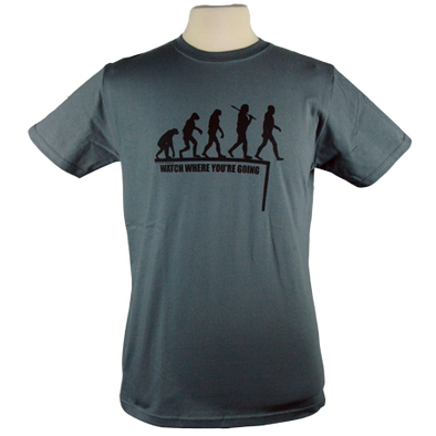 Detail of Watch Where You're Going t-shirt design, showing the evolution of man with the modern human stepping off a cliff